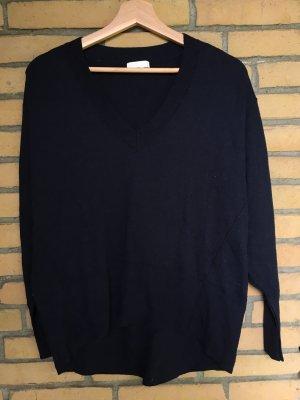 H&M Jersey con cuello de pico azul oscuro