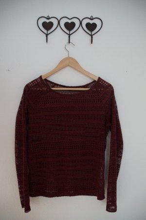 dünner Pullover mit Lochmuster