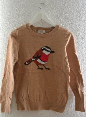 Dünner Pullover mit Vogelmotiv camelfarben von LOFT
