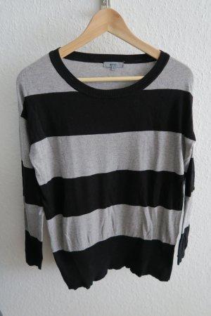 dünner Pullover schwarz grau gestreift XS/ S