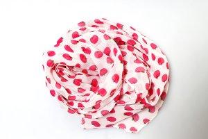 dünner Schal Tuch Sommer Äpfel pink weiß