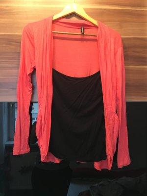 Dünner schwarz-lachsfarbener Pullover