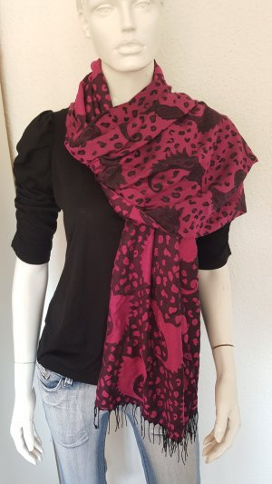 Bufanda de flecos negro-violeta