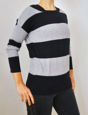 dünner Strickpullover schwarz grau gestreift XS/ S