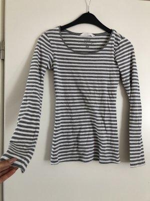 H&M Camisa acanalada gris claro-blanco