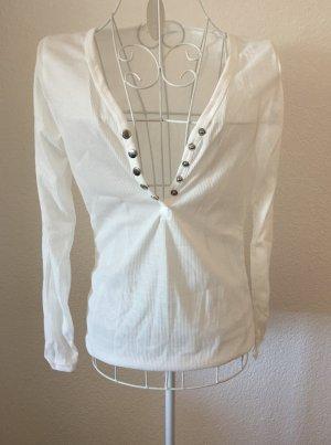Dünnes Langarmshirt V-Ausschnitt Sommershirt *Gr. S* Weiß