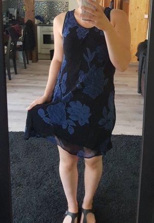 Dünnes Sommerkleid knielang Floral dunkelblau M 38