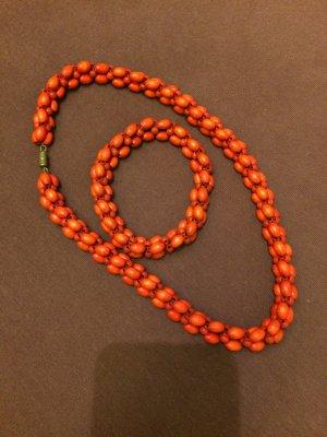 Collana di perle salmone-arancione Legno