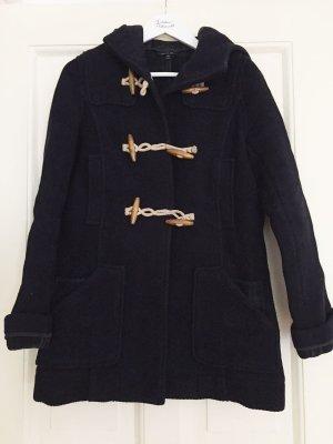 Duffle Coat Dufflecoat Wollmantel Mantel Kapuze TOPSHOP dunkelblau marine - S