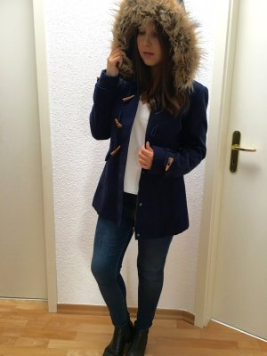 Duffle Coat Kurz Mantel Tom Tailor in dunkelblau mit abnehmbarer Fellkapuze in S