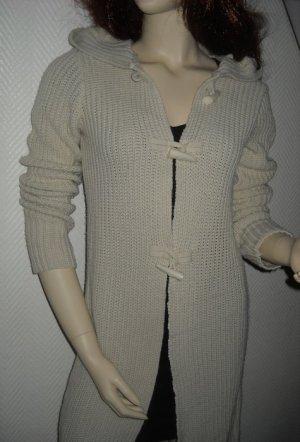 Duffle Coat Long Jacke Strick Mantel Cardigan lange Form creme XS S H M 32 34 36