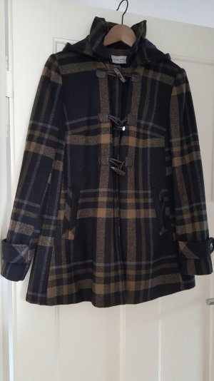 Duffle Coat Winterjacke Wollstoff Jacke Mantel blau braun Gr. S