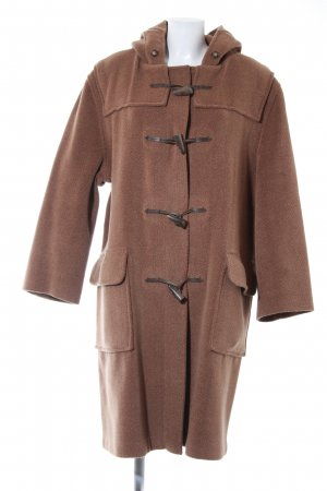 Duffel Coat light brown herringbone pattern classic style