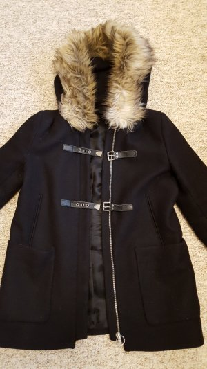 Zara Woman Duffel Coat black-silver-colored