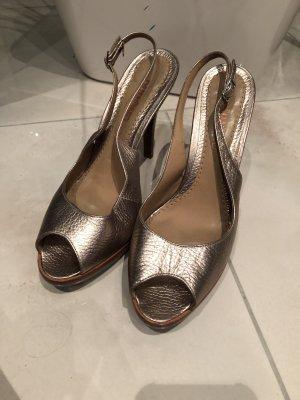 Dumond Platform High-Heeled Sandal bronze-colored-brown