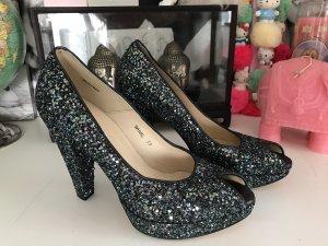 Dune Glitter Glitzer Peep Toes Shoes Pumps High Heels 39