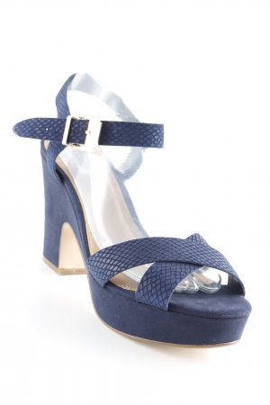 Dune Strapped High-Heeled Sandals dark blue animal pattern party style
