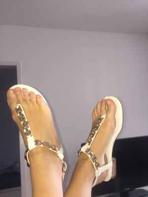 Dune Toe-Post sandals white-gold-colored