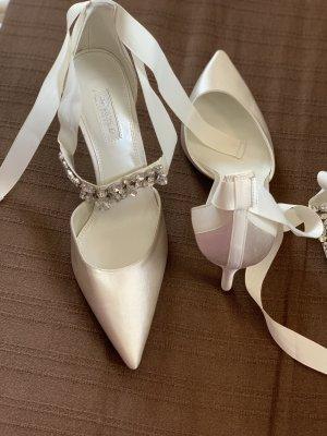Dune weiße Pumps higheels riemchenpumps neu Gr.39 weiß Schuhe Hochzeit