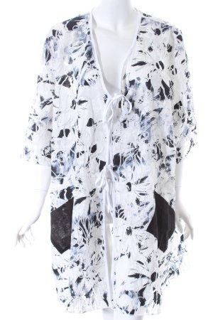 Dunja Long-Bluse weiß-schwarz abstraktes Muster Beach-Look