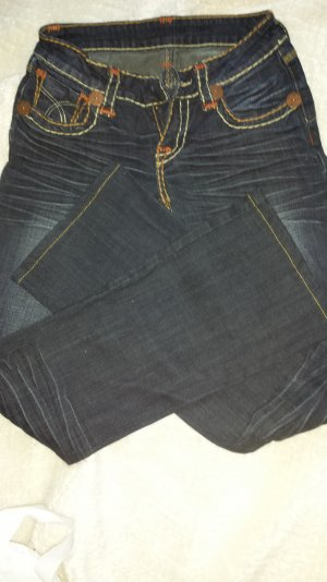 Dunkel blaue Denim Jeans