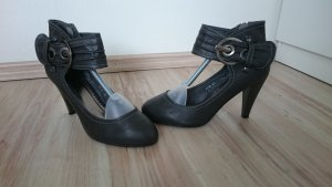 dunkel graue High Heels in 40 mit Schnalle