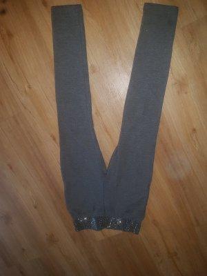 dunkel graue leggings mit strass oben