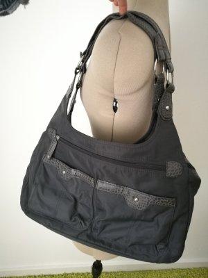 dunkel graue Tasche mit vielen Taschen