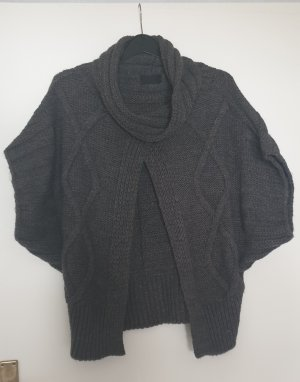 dunkel grauer Poncho, Made in Italy, Gr. 36/38