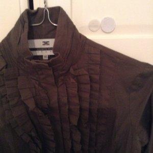 Chemise à manches longues vert foncé tissu mixte