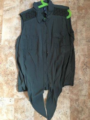 Dunkel Grüne Bluse zum binden