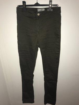 New Look Pantalon taille haute vert foncé