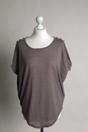 Dunkel-lilagraues Oversized Shirt mit Nieten