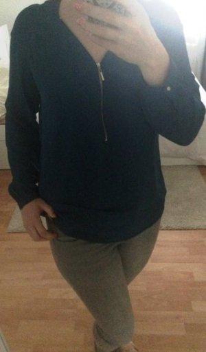 dunkel-türkise Bluse mit Reißverschluss, L