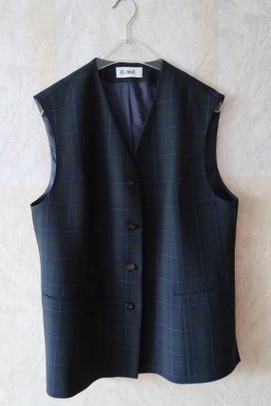 dunkelblau-dunkelgrün karrierte längere Weste mit Taschen, waschbar