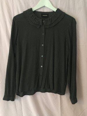 Dunkelblau gepunktete Bluse mit Rüschenkragen von Monki
