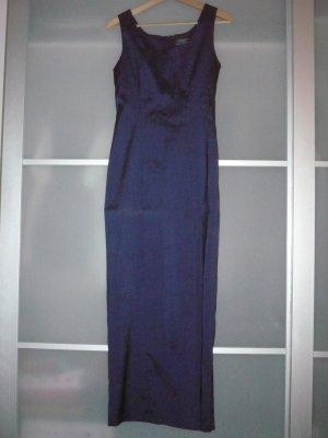 dunkelblau glänzendes Abendkleid lang