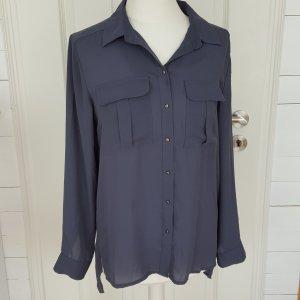 Dunkelblau/graue Bluse