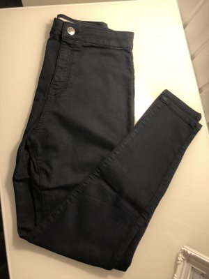 Dunkelblau Jeans Strech eng Hoher Bund