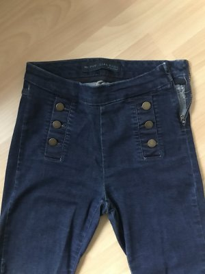 Dunkelblau Jeansleggings mit Zierknöpfen