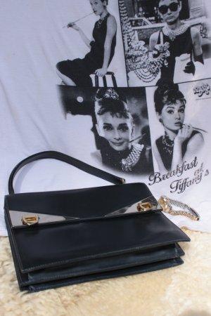 dunkelblau Leder'granny-bag', sehr guter Zustand, 70erJahre