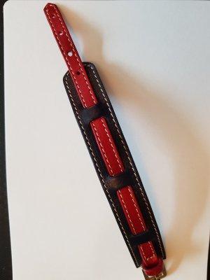 dunkelblau-rotes Lederarmband