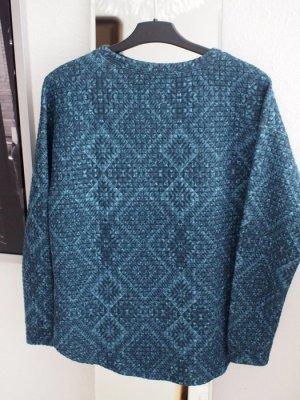Dunkelblau/türkises weiches Sweatshirt mit Struktur