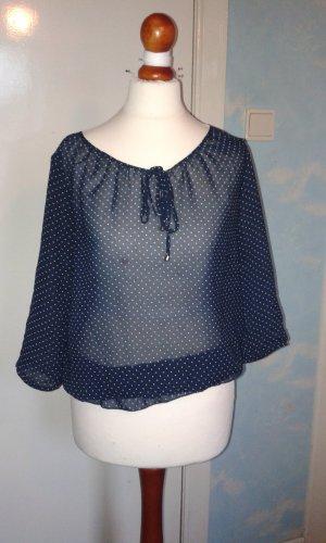 dunkelblau - weiß gepunktete feine Bluse