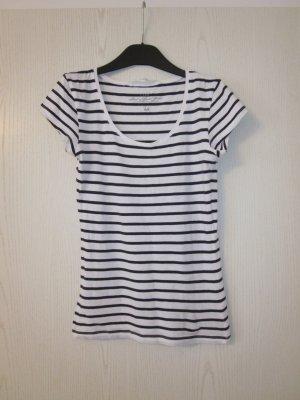 dunkelblau weiß gestreiftes T-Shirt mit rundem Ausschnitt