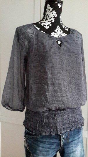 Dunkelblau/weiß kariertes Blusenshirt mit breitem Gummizug