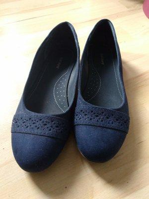 Graceland Ballerine à bride arrière bleu foncé-bleu faux cuir
