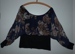Dunkelblaue Blüten Bluse mit Carmenausschnitt