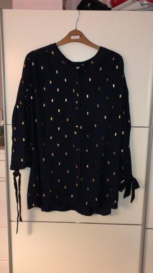 Monsoon Carmen blouse donkerblauw-goud