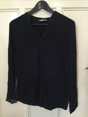 Anthropologie Long Sleeve Blouse dark blue-blue rayon